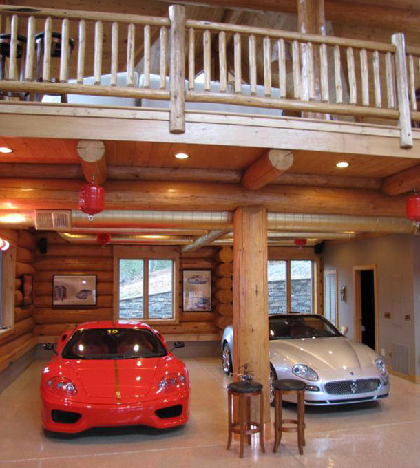 82 dream garage photos part 3 josh 39 s world for Log cabin style garages