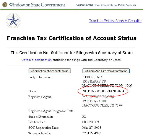 MyPlates.com NOT IN GOOD STANDING with Texas Comptroller? – Josh\'s World