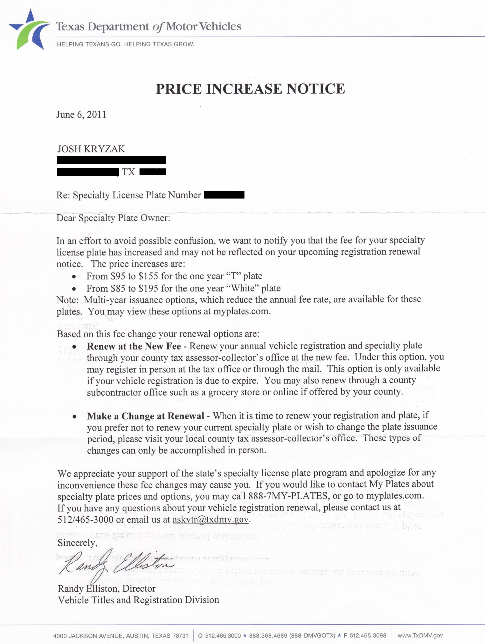 price increase letter myplates rips customers price increase 85 to 1826